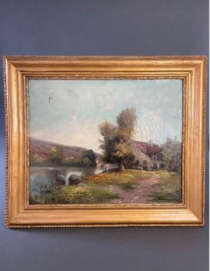 """""""Maison au bord de la rivière"""".  Huile sur toile signée en bas à droite TH. Linsyer..."""