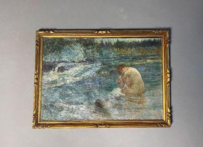 Baigneuse.  Huile sur toile.  XXe siècle.  Haut. : 38,5 cm - Larg. : 56 cm