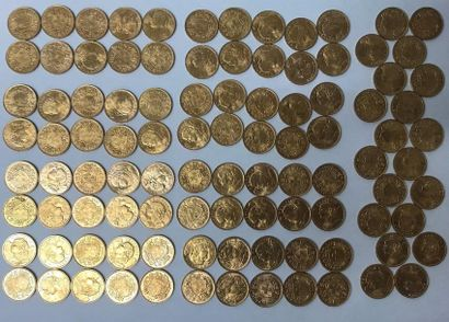 Cent pièces en or de 20 Francs suisse. (lot...