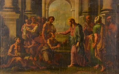 Ecole italienne du XVIIe siècle. Jésus bénissant...