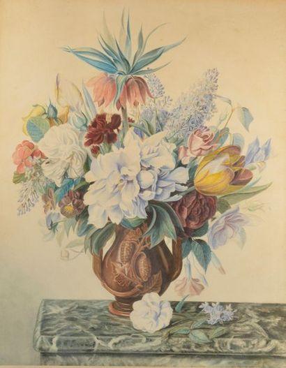 J.F. VANDAËL (XIXe siècle). Bouquet de fleurs...