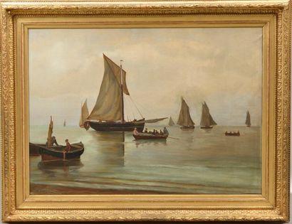 GUITTARD (XIXe siècle). Les voiliers. Huile...