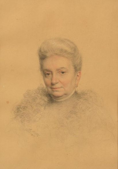 Léon Gérard CREPY (1872-?). Portrait de femme....