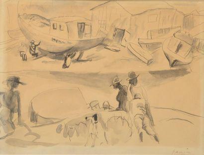 Jules PASCIN (1885-1930). Marins et barques....