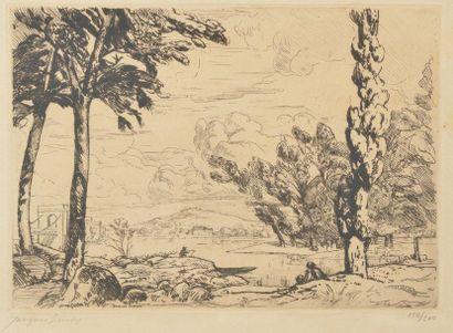 Jacques SIMON (1875-1965). Pont près de Sancerre....