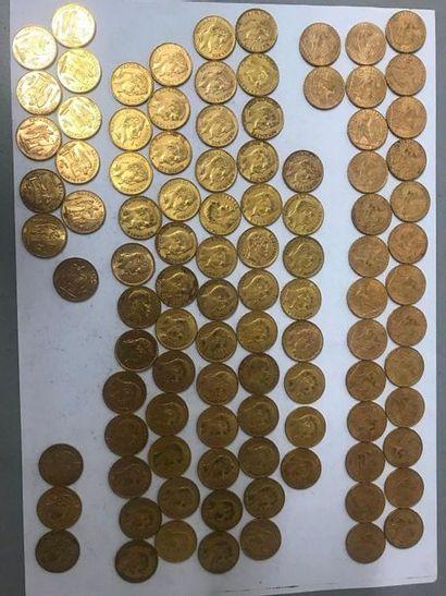 Cent pièces en or de 20 Francs comprenant:...