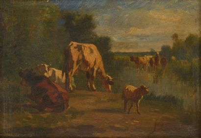André CORTÈS Y AGUILAR (1810-1879). Vaches...