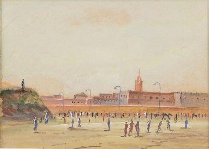 Ecole de la fin du XIXe siècle. Paysage animé....