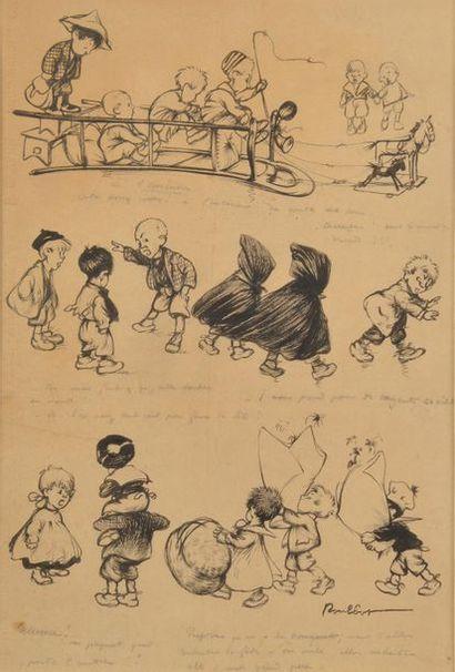Francisque POULBOT (1879 - 1946). Jeux d'enfants....