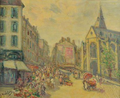Gustave MADELAIN (1867-1944). Marché devant...