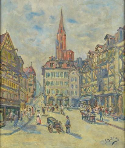 Gustave MADELAIN (1867-1944). Rue animée...