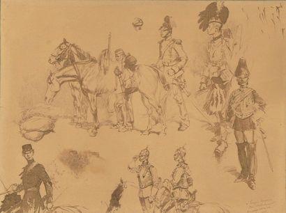 Édouard DETAILLE (1848-1912). Études de militaires...