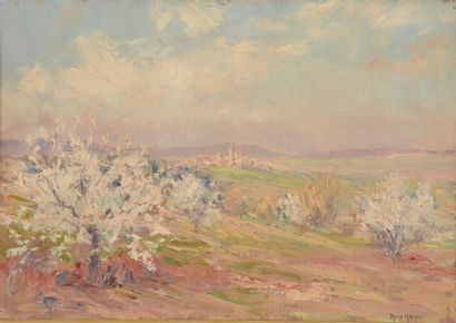 René HANIN (1871 - 1943). Paysage aux amandiers...