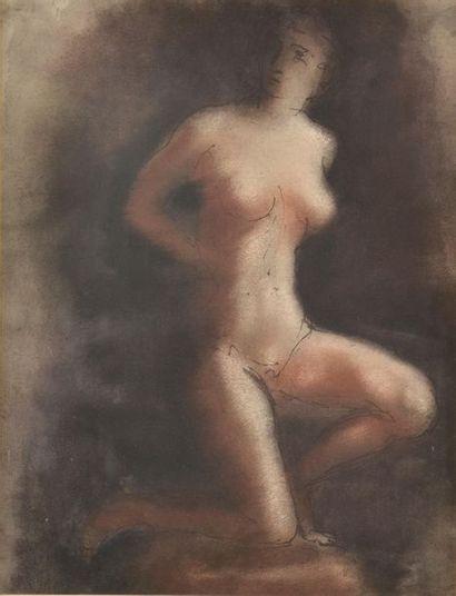Ecole du XXe siècle Etude de nue agenouillée....