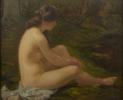 Jean RACHMIEL (1871-1954).  Baigneuse.  Huile...