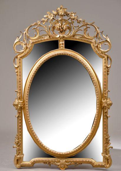 Miroir à parcloses en bois et composition...