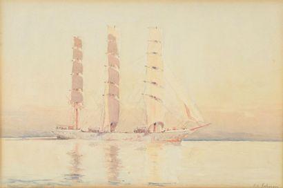 J.B. JOHNSON (XIXe-XXe). Trois mâts. Aquarelle...