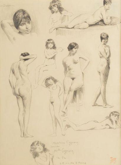 Léon LEBEGUE (1863-1930). Etudes de Madeleine de Cognac nue. Graphite sur papier,...