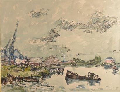 Fernand HERBO (1905-1995). Vue de Honfleur...
