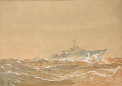 SOP (XXe). Frégate de la marine française....