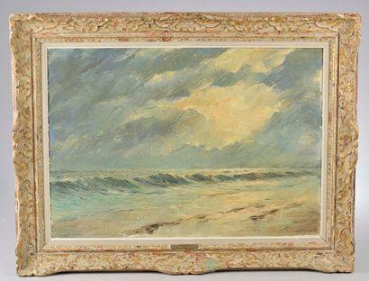 BOUSQUET (XXe siècle). Bord de mer. Huile...