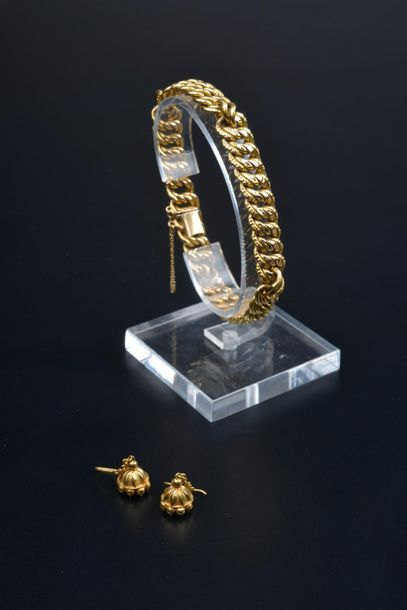 Bracelet gourmette en or jaune 18k, chaînette...