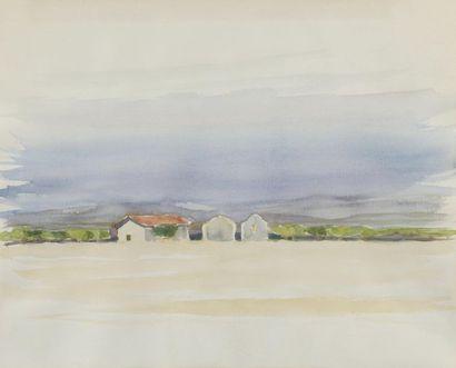 Roger LANDAULT (1919-1983). «Les merisiers» et Maisons sur la côte. Deux aquarelles,...