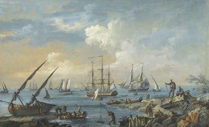 École du XVIIIe siècle.  Vue de bord de mer....