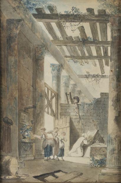 École de la fin du XVIIIe siècle.  L'ermite...