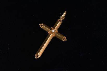 Croix pendentif en or jaune 18k piquée en...