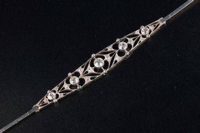 Bracelet articulé en or gris 14k et argent...
