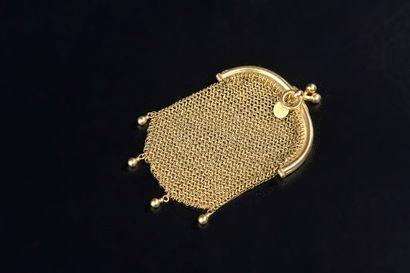 Petite bourse cotte de maille en or jaune...
