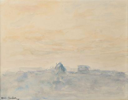 André BARBIER (1883-1970).  Paysage jaune...