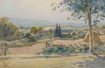 École du XXe siècle.  Paysage à la motte...