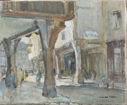 Claude MARIN (1914-2001).  Rue animée sous...