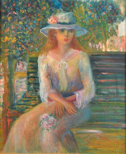 École du XXe siècle.  Jeune femme au chapeau...