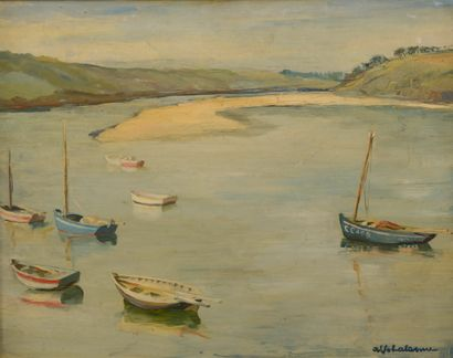 Alfred Jean LALANNE (XXe siècle).  Barques...