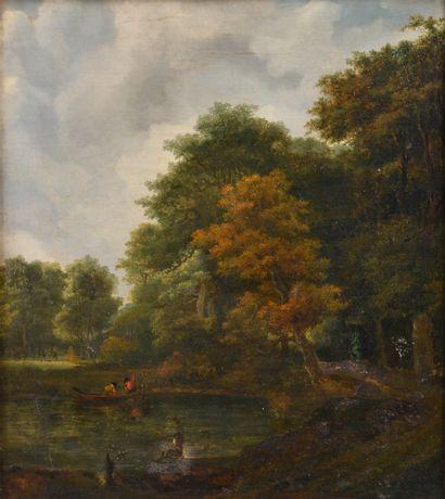 Lazare BRUANDET (1755-1804).  Scène de pêche...