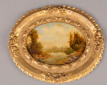 École du XIXe siècle.  Paysage à la rivière...
