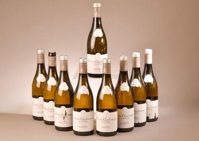 9 bouteilles CORTON CHARLEMAGNE, Rapet 2015...