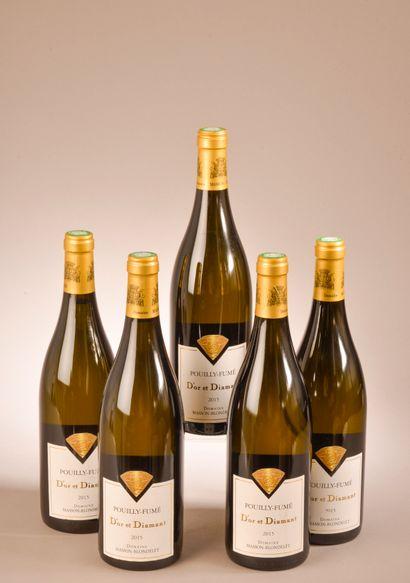 5 bouteilles POUILLY-FUMÉ D'or et diamant