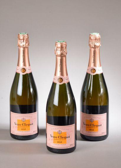 3 bouteilles CHAMPAGNE rosé, Veuve Clicq...