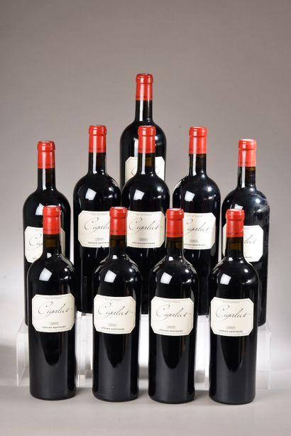 10 bouteilles CIGALUS rouge, G. Bertrand 2015 (sauf 1 de 2013)
