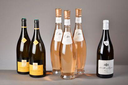 6 bouteilles VINS DIVERS (2 Chablis Troesmes...