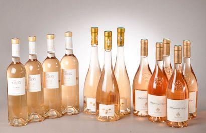 12 bouteilles CÔTES DE PROVENCE rosé, (3 Ste-Marguerite, 4 La Croix, 5 Whispering...