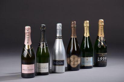 6 bouteilles CHAMPAGNE DIVERS (Delamotte,...