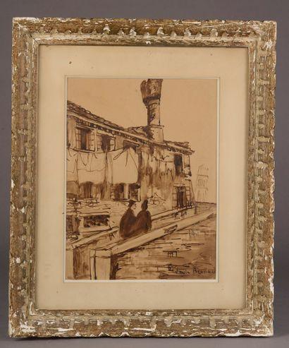 Émile BERNARD (1868-1941). Pont à Venise....