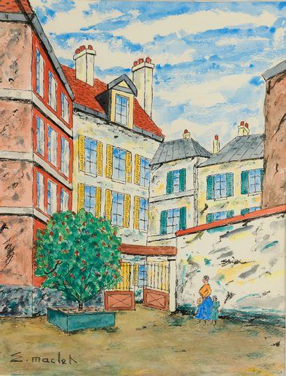 Elisée MACLET (1881-1962). Montmartre. Aquarelle...