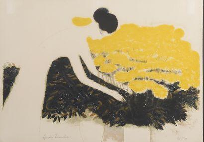 André BRASILIER (né en 1929). La dame blanche....