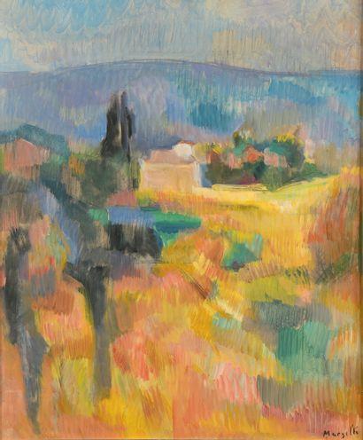 Jean MARZELLE (1916-2005). Paysage de Méditerranée....